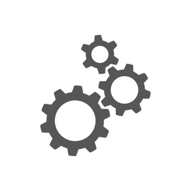 Three gear sign icon on background Three gear sign icon on background apparatus stock illustrations