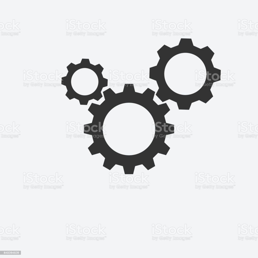 Three gear sign icon on background vector art illustration