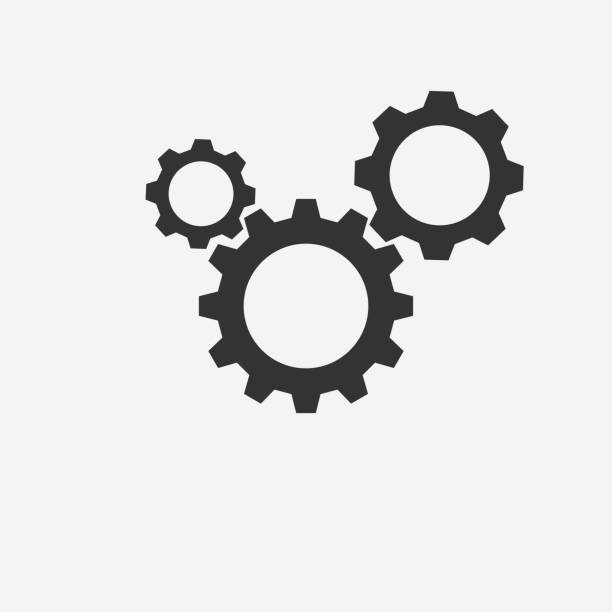 three gear sign icon on background - motion stock illustrations