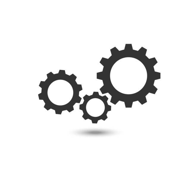 Drei Zeichen Zahnradsymbol auf Hintergrund – Vektorgrafik