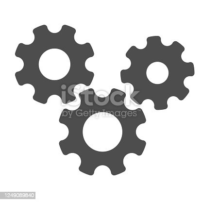 istock Three gears solid icon, teamwork concept, gear mechanism settings sign on white background, three gearwheels icon in glyph style for mobile concept and web design. Vector graphics. 1249089840
