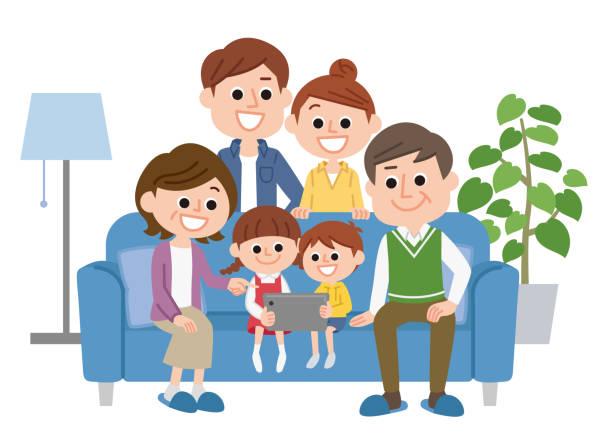 illustrazioni stock, clip art, cartoni animati e icone di tendenza di three generation family - solo giapponesi