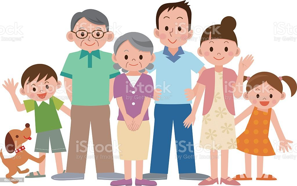 Three generation family vector art illustration
