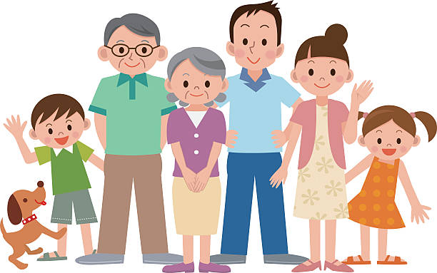 Best Big Family Asian Illustrations, Royalty-Free Vector ...