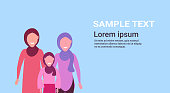 three generations arab women in hijab standing together arabic female characters portrait flat copy space horizontal vector illustration