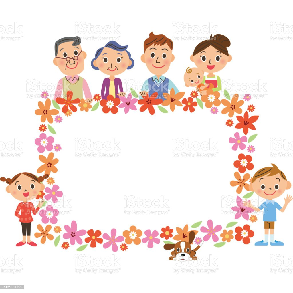 Three Generations Family And Flower Frame Stock Vector Art & More ...