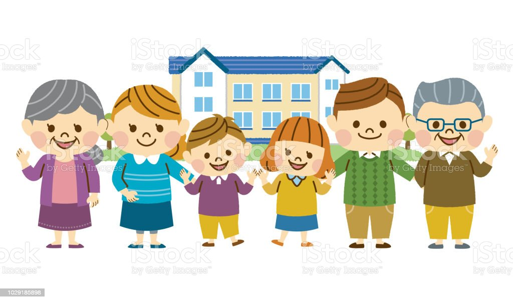 Three generations of family vector art illustration