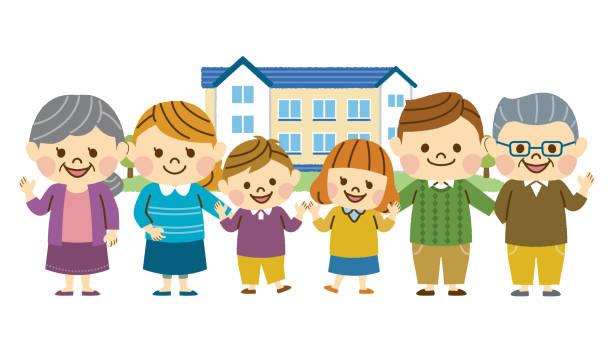 3 つの世代の家族 - 家族 日本人点のイラスト素材/クリップアート素材/マンガ素材/アイコン素材