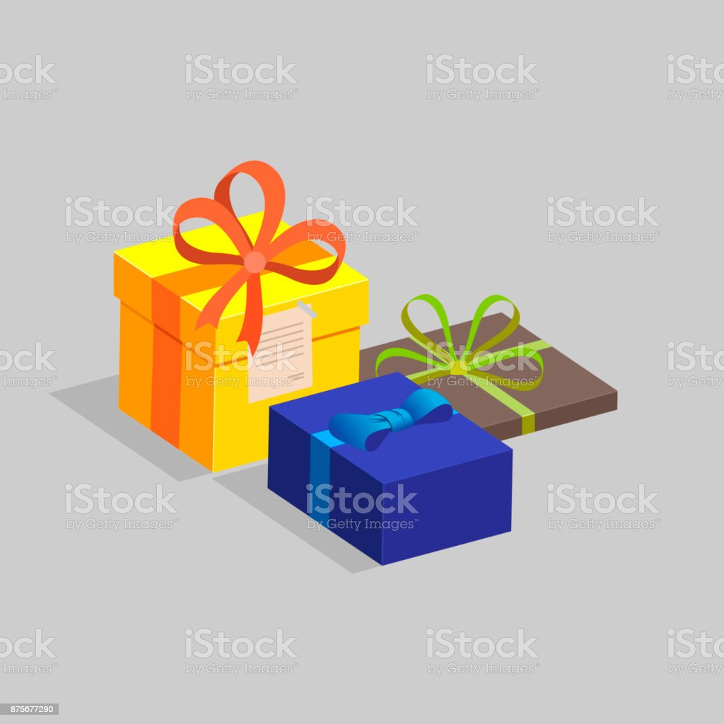Three Gift Boxes Of Different Colors And Shapes Decorated With ...