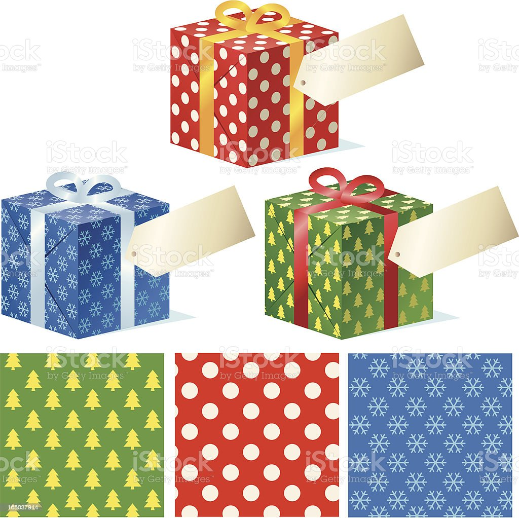 Three Gift Wrapped Boxes + Patterns royalty-free three gift wrapped boxes patterns stock vector art & more images of box - container