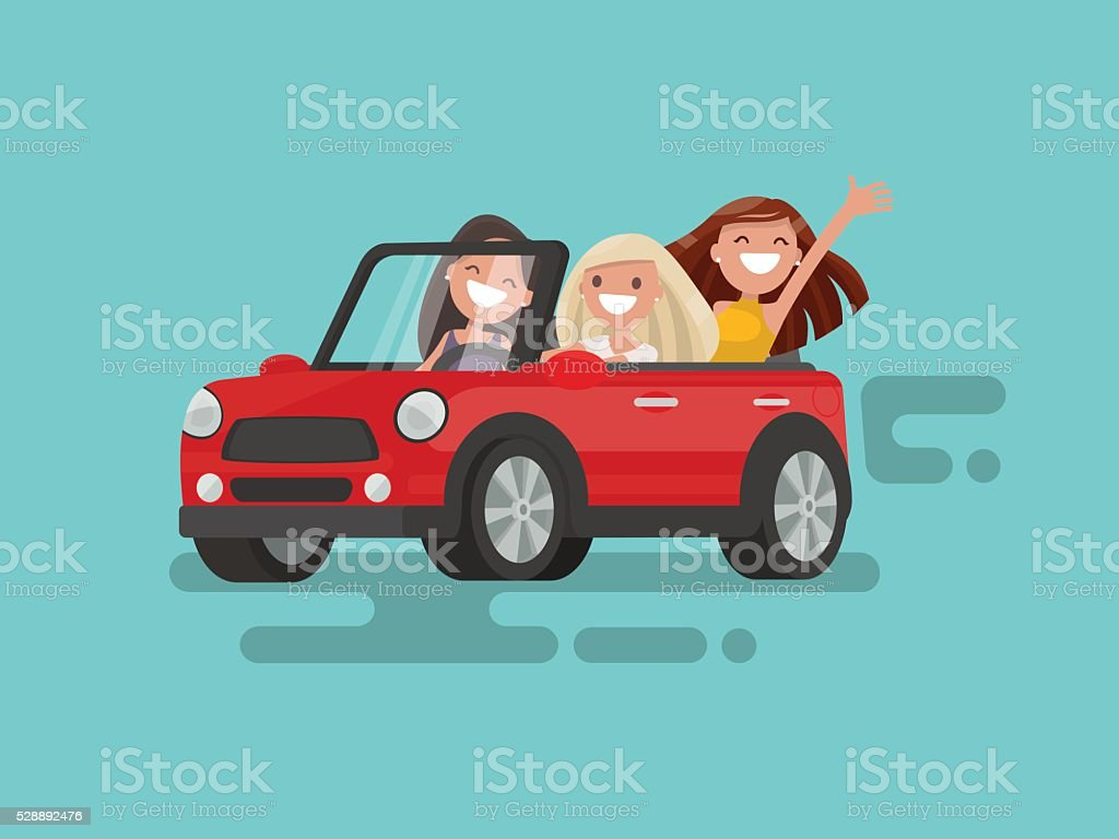 Three girlfriends are riding to a gig. Vector illustration vector art illustration