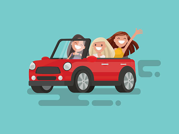 Three girlfriends are riding to a gig. Vector illustration Three girlfriends are riding to a gig. Vector illustration convertible stock illustrations
