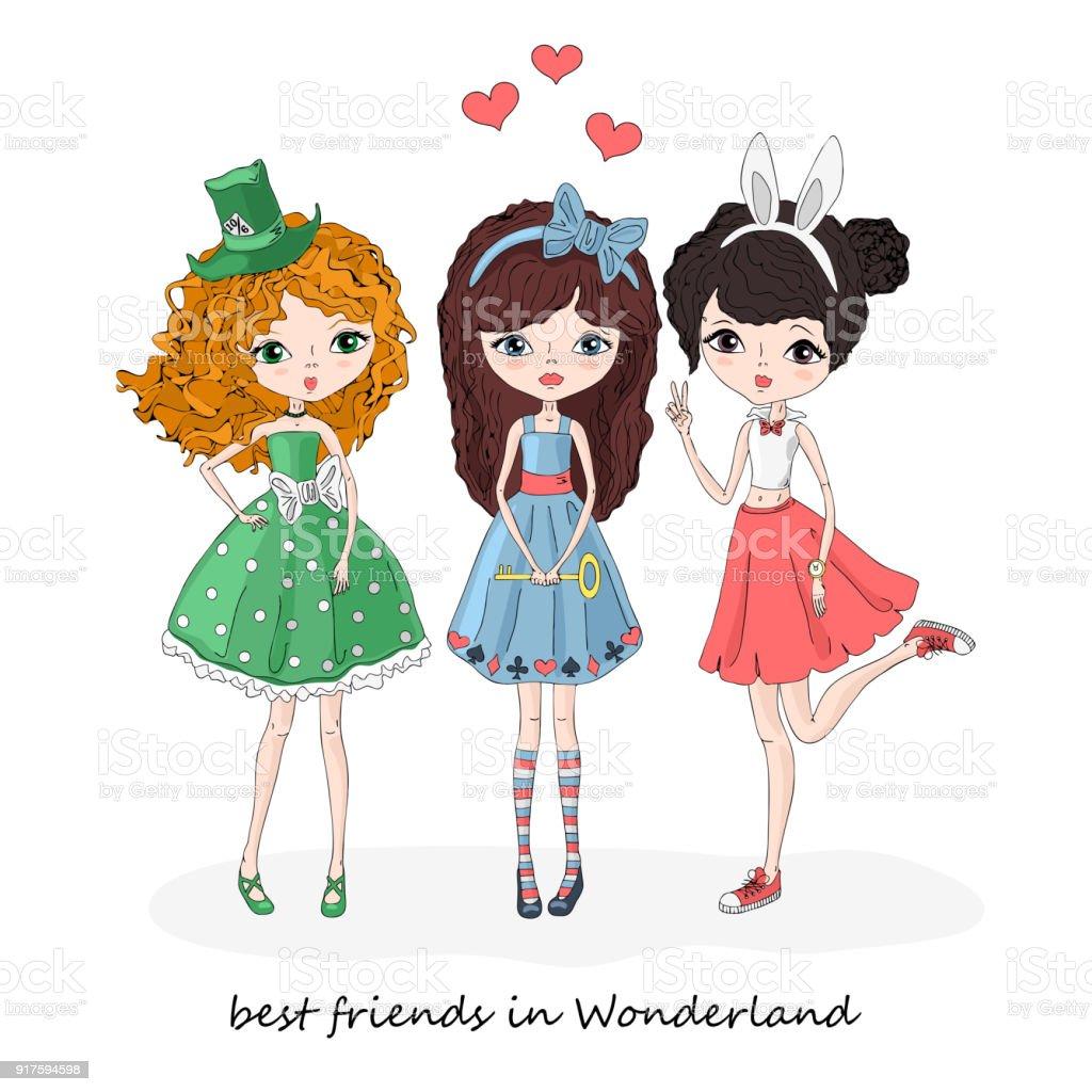 Tres chicas en el país de las maravillas - ilustración de arte vectorial
