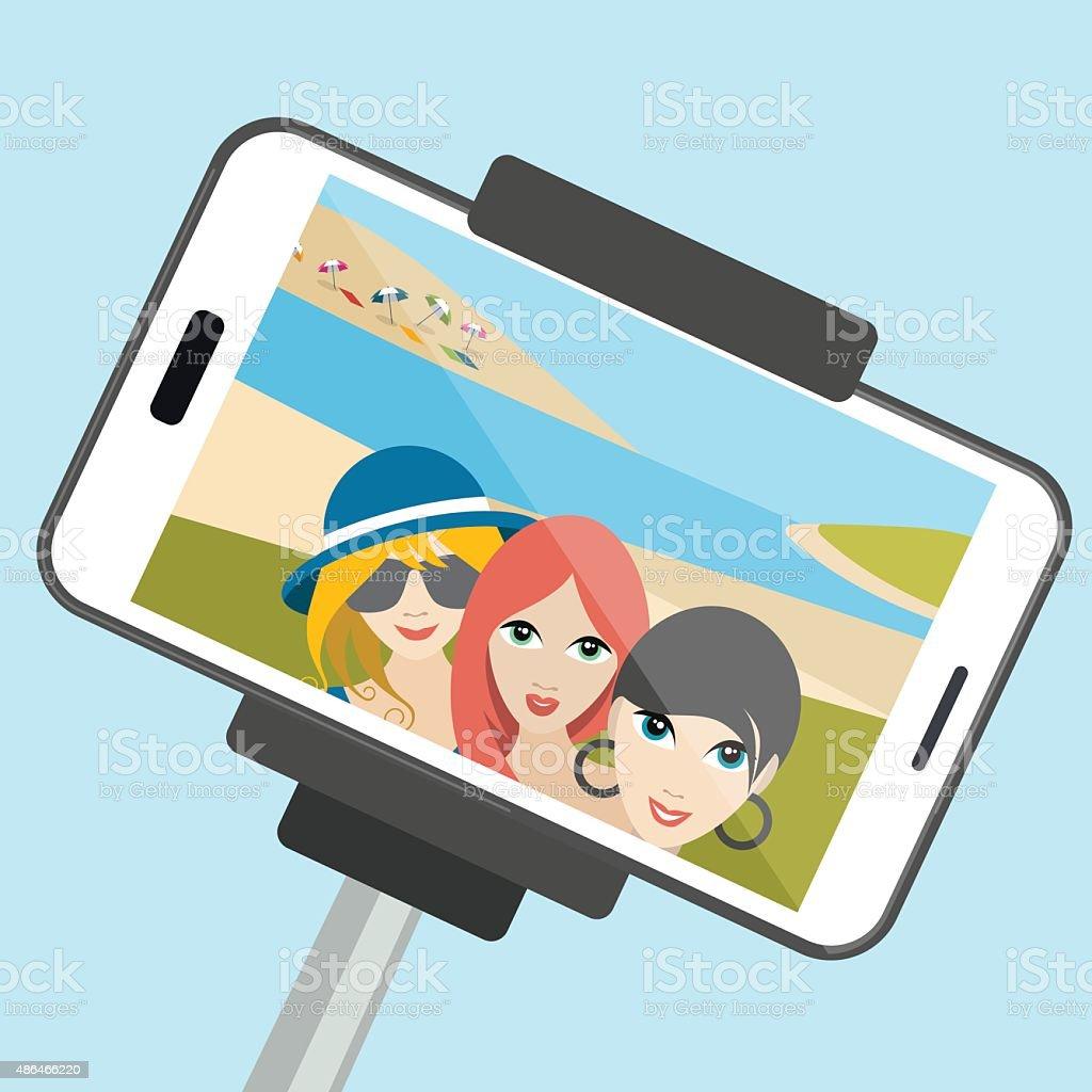 Three girls making summer selfie photo. Vector cartoon illustration. vector art illustration
