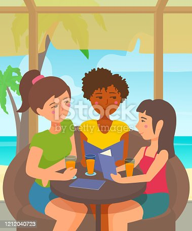 Summer outdoor friends gathering, togetherness. Sand, palm tree, sea, sky on the background.