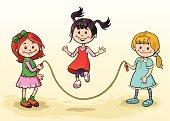 Three Girls Skipping Rope