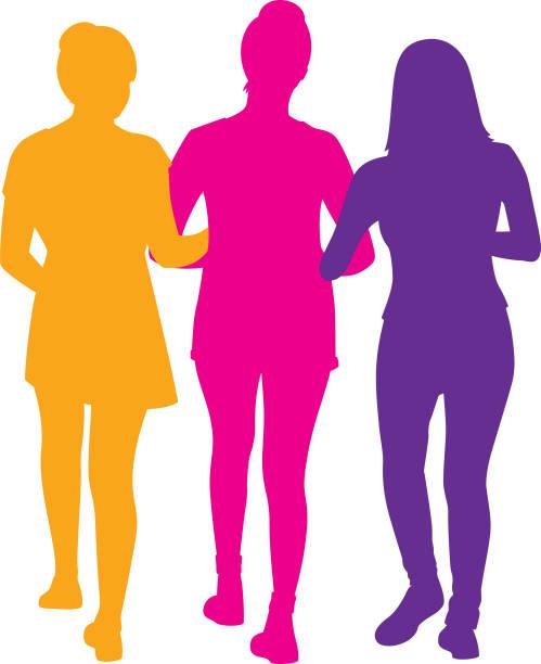 stockillustraties, clipart, cartoons en iconen met drie meisjes lopen silhouet - drie personen