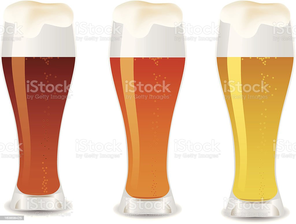Three glass with beer royalty-free stock vector art