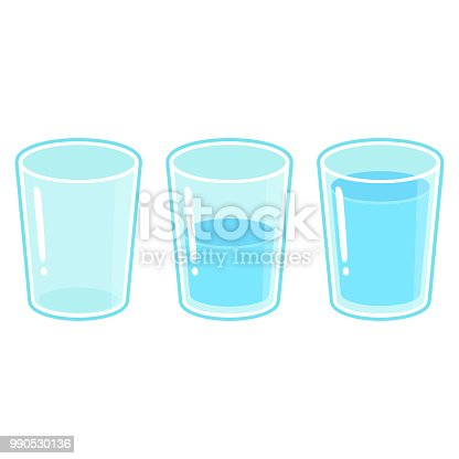 Three glasses of water: empty, half full and full. Cartoon vector illustration isolated on white background.
