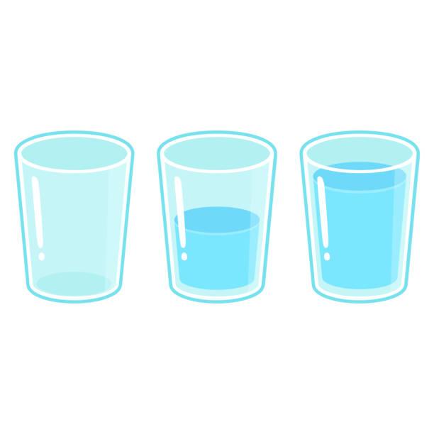 bildbanksillustrationer, clip art samt tecknat material och ikoner med tre glas vatten set - cup