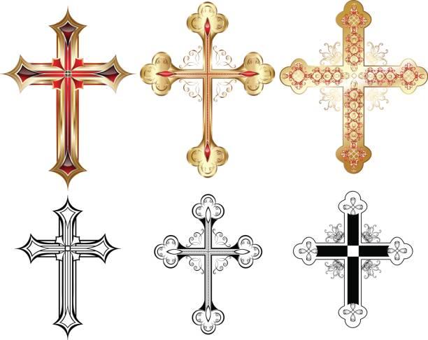 drei gold cross - kirchenschmuck stock-grafiken, -clipart, -cartoons und -symbole
