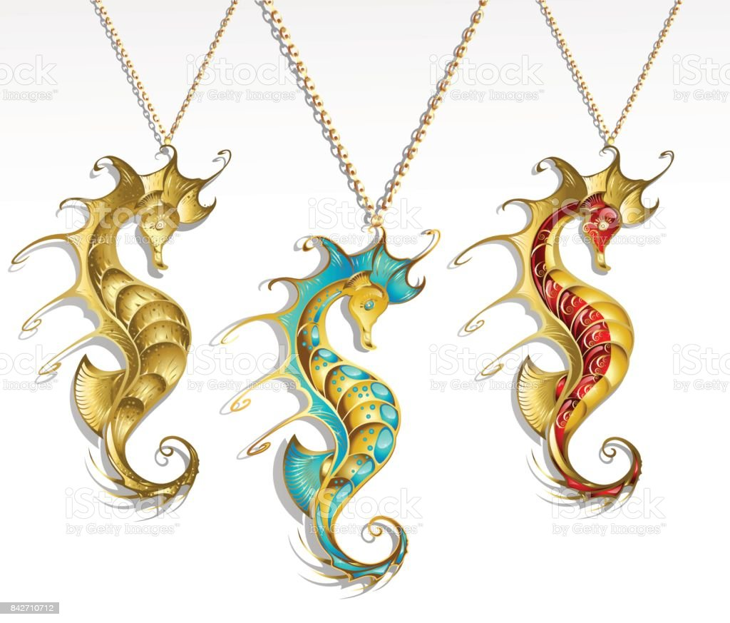three gold seahorses vector art illustration