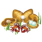 Three Gold shells with white, beige pearls and crabs