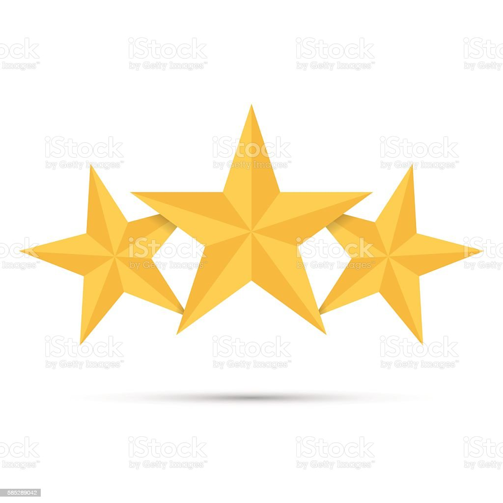 Three gold stars. Award winner. Best reward. vector art illustration