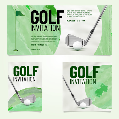 Three golf invitation template in different orientation with sample text