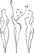 A classic pose of three ladies used many times in ancient art. It's origin lies in Greek mythology.