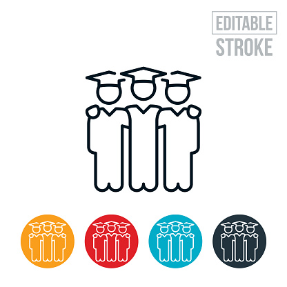 Three Graduates With Arms Around Each Others Shoulders Thin Line Icon - Editable Stroke