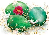 Three green eggs
