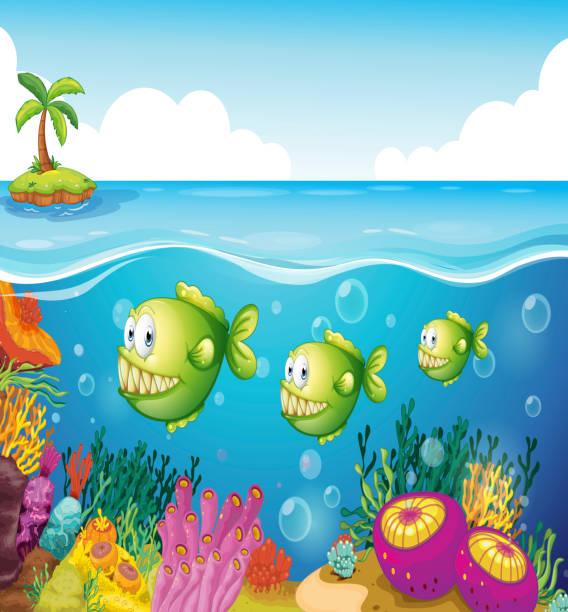 three green piranhas under the sea - fossilized leaves stock illustrations