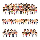 Tree big group of casually dressed flat cartoon people. Isolated on white background. Clipping paths included.