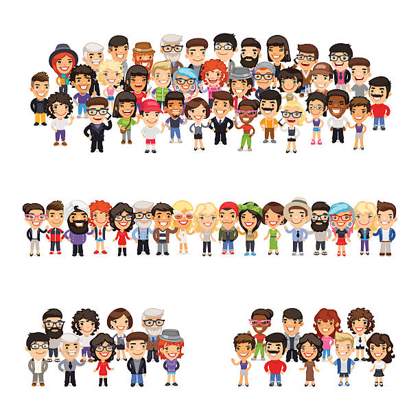 three group of people - cartoon kids stock illustrations, clip art, cartoons, & icons