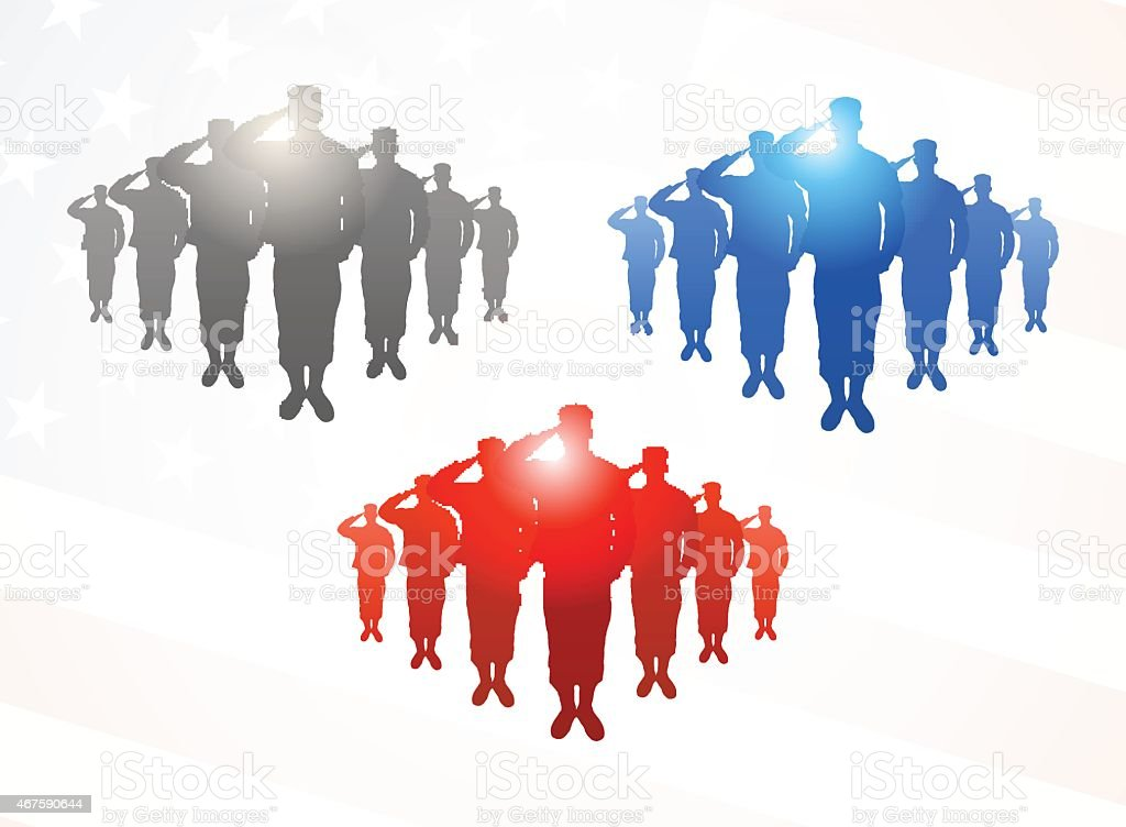 Three  groups of saluting soldiers in grey, blue and red vector art illustration