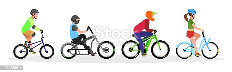 Three guys and girl in helmets riding freestyle trick, city cruiser, mountain, touring bicycles. Urban transport, bikes set. Healthy, sport lifestyle concept. Vector collection isolated on white.