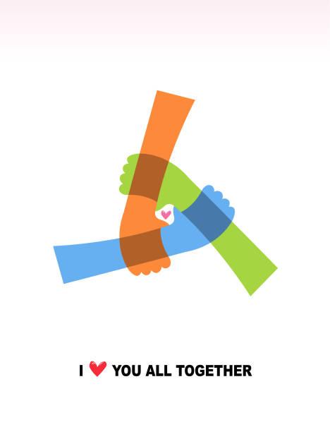 stockillustraties, clipart, cartoons en iconen met drie handen zijn aangesloten, en er zijn hart in het midden. ik hou van je allemaal samen. concept - drie personen