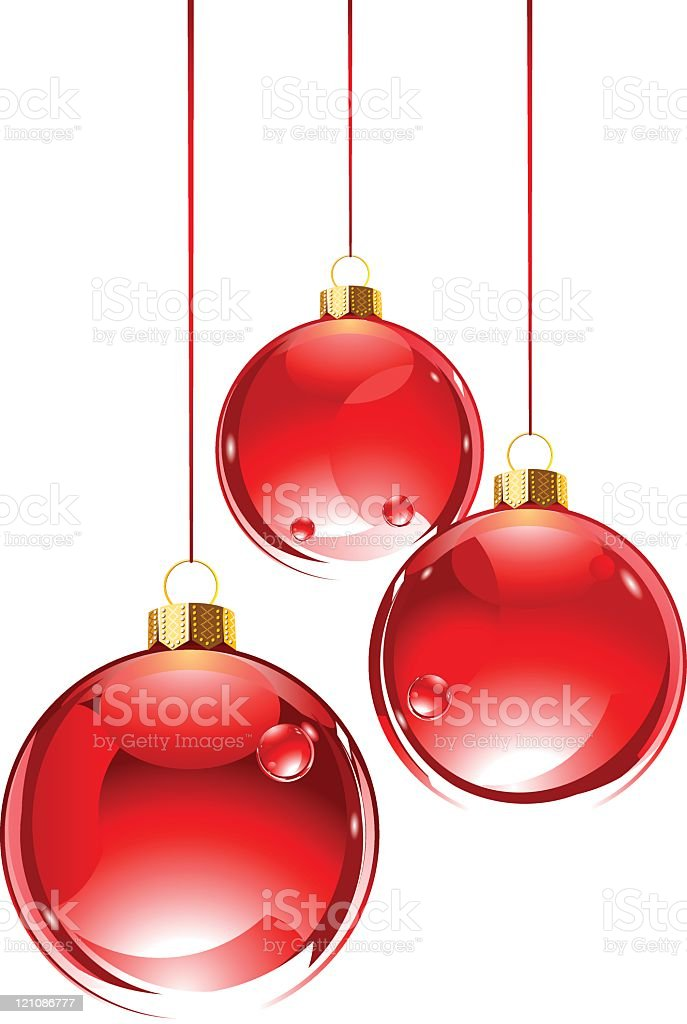 Three hanging red glass baubles royalty-free stock vector art