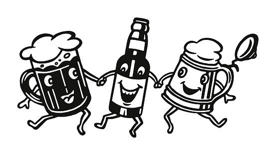Three Happy Beer Characters