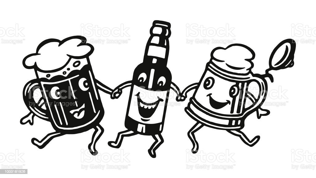 Three Happy Beer Characters vector art illustration