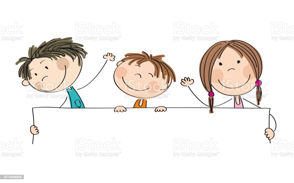 Three happy children holding blank banner / board - copy space for your text on white background - original hand drawn illustration vector art illustration