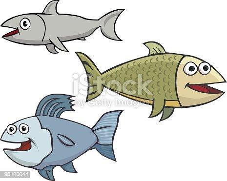 Three Happy Fish Stock Vector Art & More Images of Cartoon 98120044