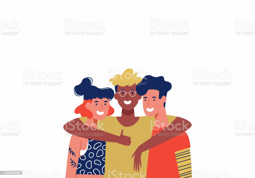 三個快樂的朋友在集體擁抱孤立 - 免版稅一起圖庫向量圖形