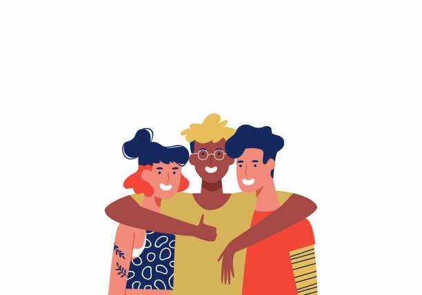 drei glückliche freunde in der gruppe umarmung isoliert - jugendalter stock-grafiken, -clipart, -cartoons und -symbole