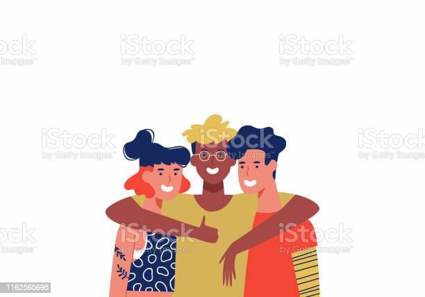 三個快樂的朋友在集體擁抱孤立向量圖形及更多一起圖片