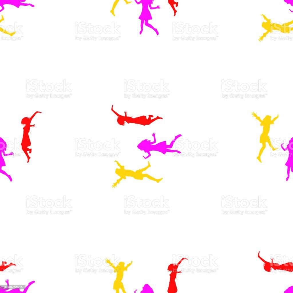 喜びのためにジャンプする3人の幸せな女の子シームレスな壁紙パターン