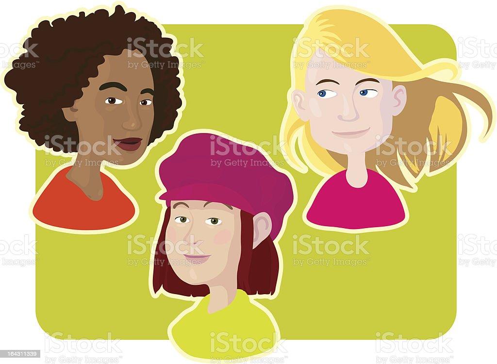 Three Happy Girls vector art illustration