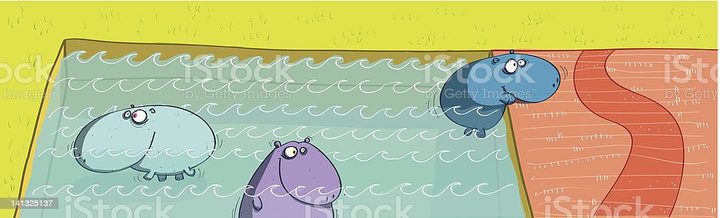 Three Hippos in Swimming Pool royalty-free stock vector art