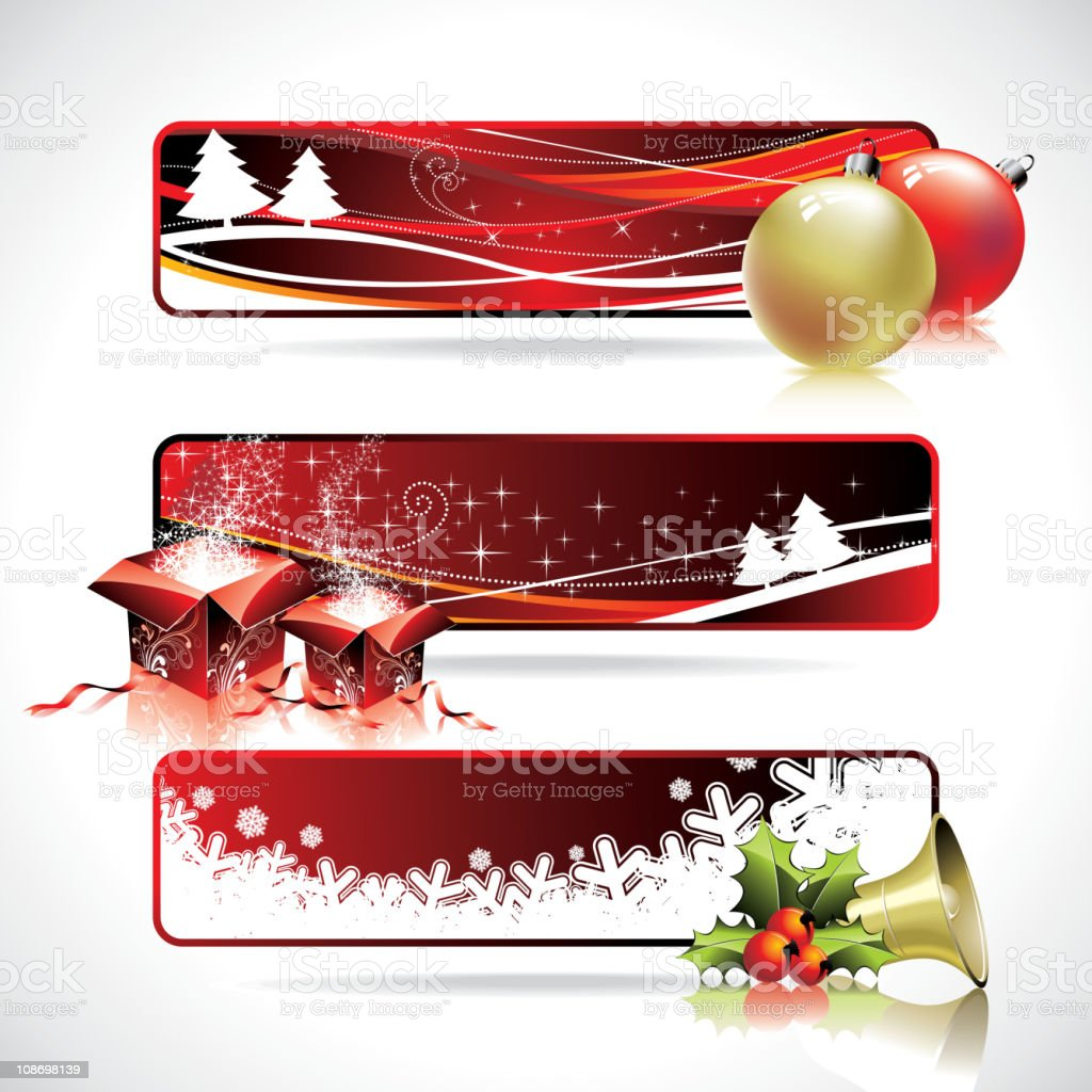 Three horizontal banner design on a Christmas theme. royalty-free stock vector art